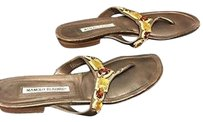 Manolo Blahnik Leather Jewel Embellished Casual Thong B2101 Bronze Sandals