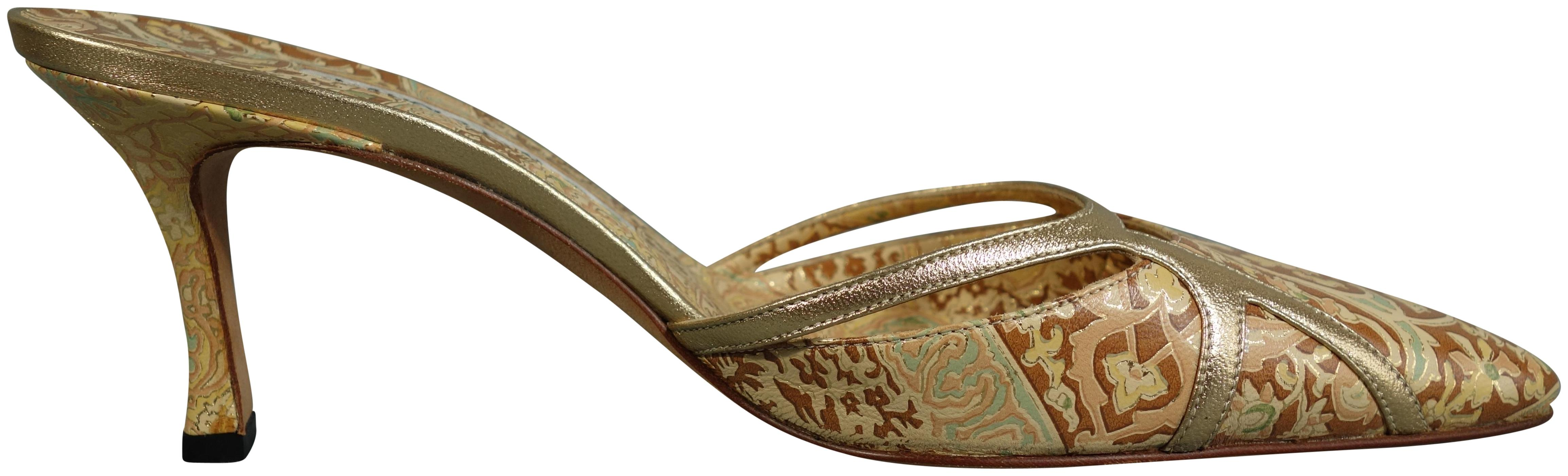 Manolo Blahnik Gold Metallic Brocade Embroidery Flower Print Pump Mules/Slides Size EU 37 (Approx. US 7) Regular (M, B)