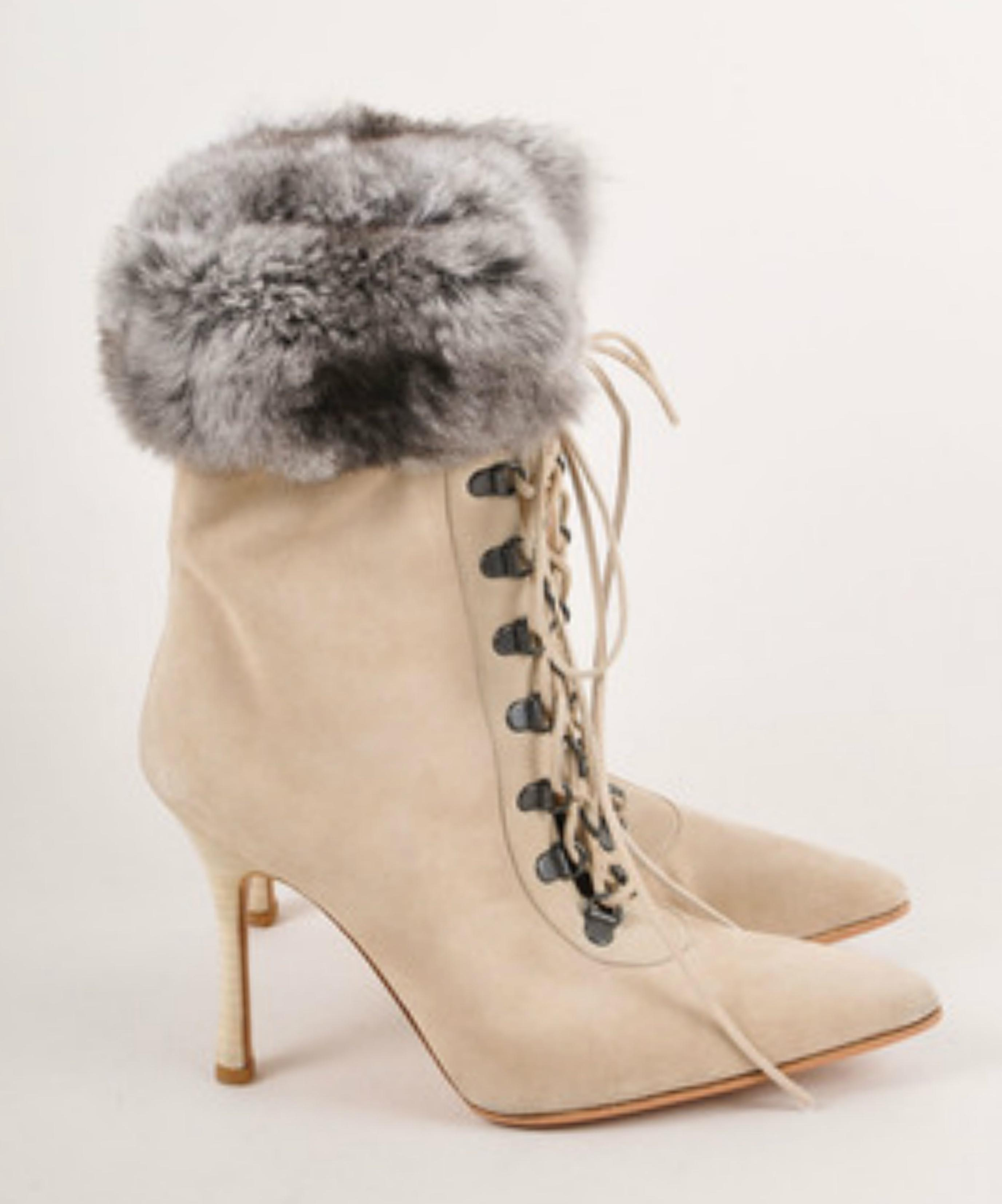 Manolo Blahnik Cloth Lace Up Boots