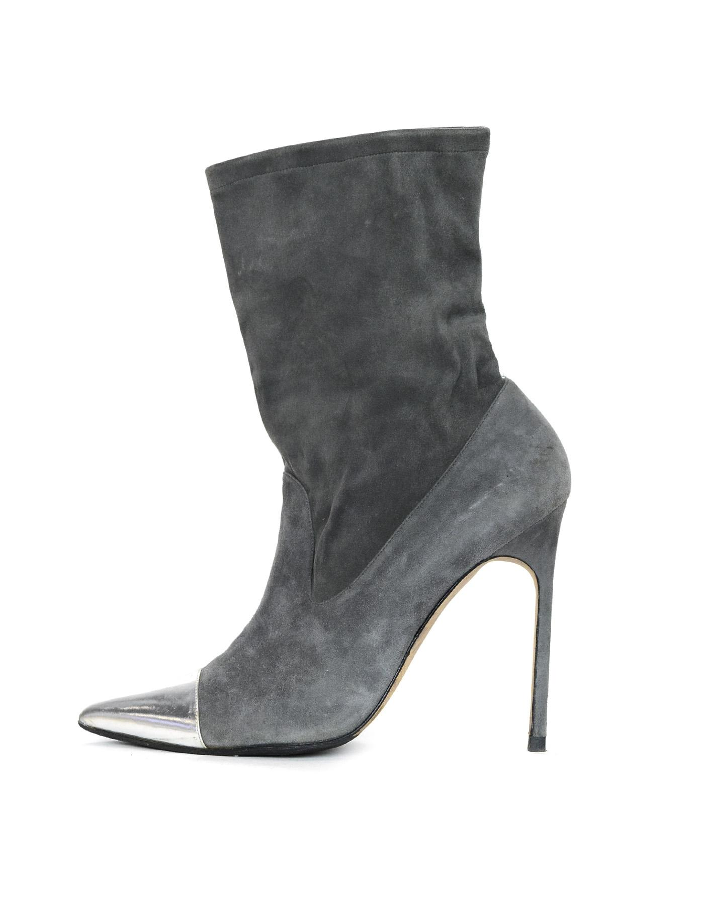 Manolo Blahnik Grey Suede Pointed Toe Heeled W/ Silver Cap Toe Boots/Booties Size EU 39.5 (Approx. US 9.5) Regular (M, B)