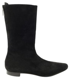 Manolo Blahnik Manolo Suede Ankle Stacked Heels Black Boots