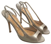 Manolo Blahnik Peep Toe Metallic Slingback Bronze Pumps