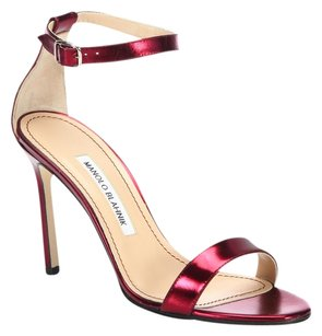 Manolo Blahnik red metalic Sandals