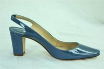 Manolo Blahnik Womens Patent Leather High Heel Slingback Blue Pumps