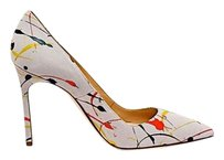 Manolo Blahnik Splatter Grey Suede w/Multi Color Pumps
