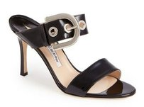 Manolo Blahnik Bila Slide Black Sandals