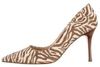 Manolo Blahnik Suede Zebra Animal Print Pointed Toe Classic Brown, Cream Pumps