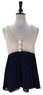 Manoush Eyelet Baby Doll Top Navy Beige
