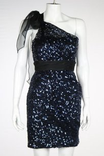 Marc Bouwer Glamit Womens Navy Sheath 0 Sequined Formal Party Dress