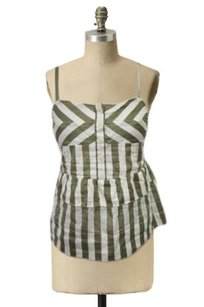 Marc by Marc Jacobs Crop Striped Smock Back Top Olive & White