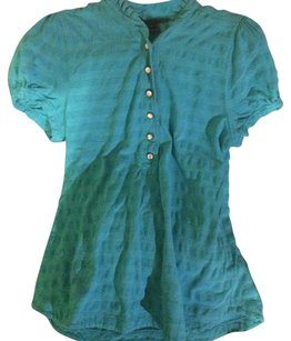 Marc by Marc Jacobs Polo Pearl Ruffle Striped Textured Top Green