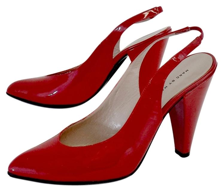 Marc by Marc Jacobs Red Pointed Toe US Slingback Heels Sandals Size US Toe 7.5 8062d3