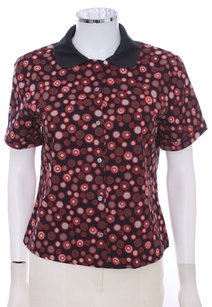 Marc Jacobs Cotton Circles Grey Gray Bowler Peter Pan Collar Button Down Shirt Black and Red