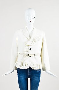 Marc Jacobs Marc Jacobs Ivory Linen Belted Ruffled Three Button Lined Blazer