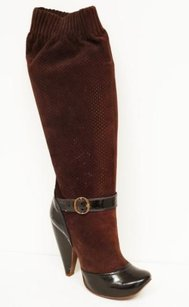 Marc Jacobs Patent Perforated Leather High Heel Buckle Slouch Sock Brown, Black Boots