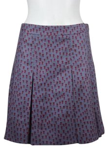 Marc Jacobs Marc By Womens Floral Pleated Silk Blend Skirt Gray Burgundy