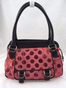 Marc Jacobs Suede Red Shimmer Polka Dot Two Strap Satchel in Pink