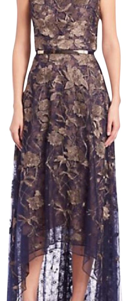 Marchesa Notte Navy Evening Gown With Gold Embroidery Tags On