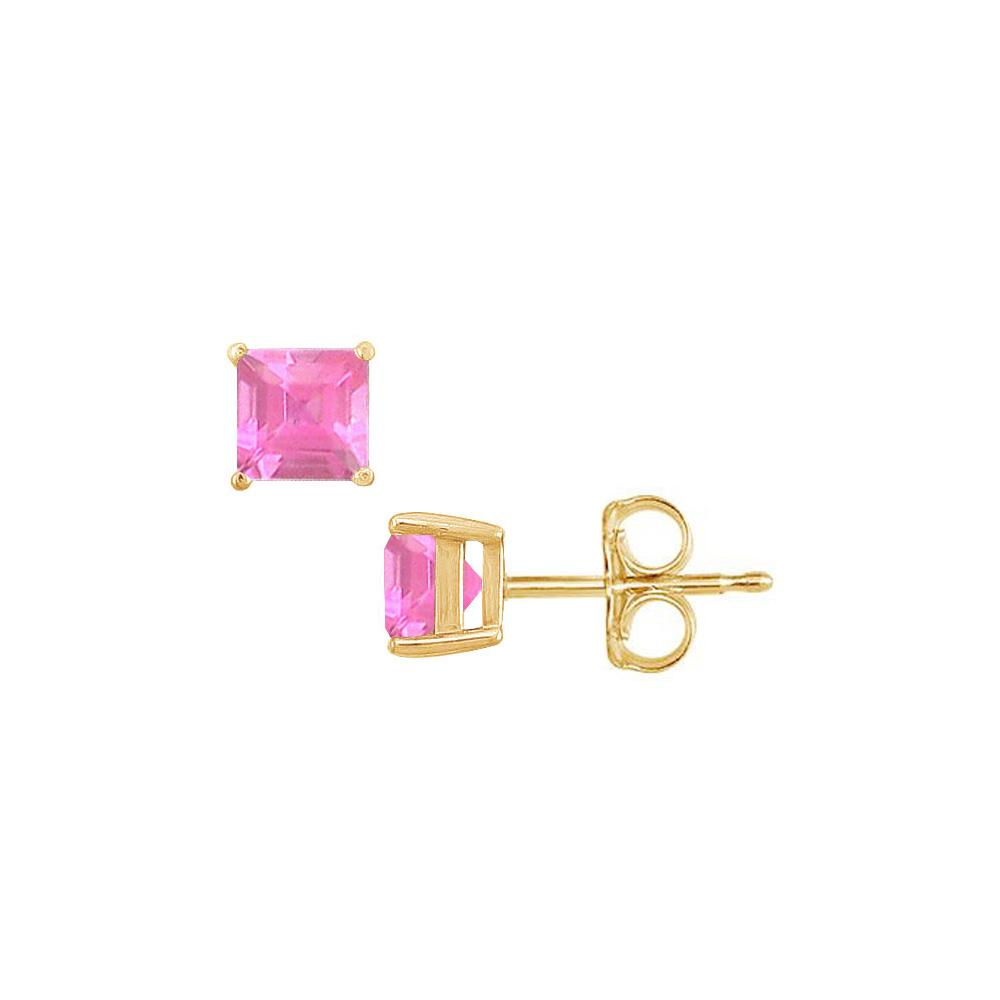 pink square sapphire stud earrings in 18k gold vermeil