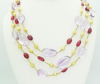 Marco Bicego Marco Bicego 18k Yellow Gold Three Strand Amethyst 23 Long Necklace N292