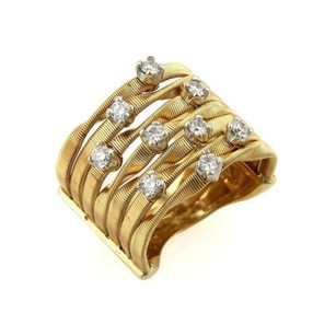 Marco Bicego Marco Bicego Marrakech Diamonds 18k Yellow Gold Rows Textured Band Ring