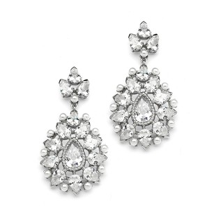 Mariell Cubic Zirconia Designer Bridal Earrings With Pearl Sunburst 4175e
