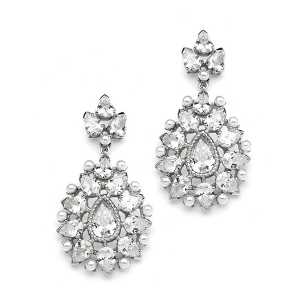 Mariell Silver Cubic Zirconia Designer with Pearl Sunburst 4175e Earrings