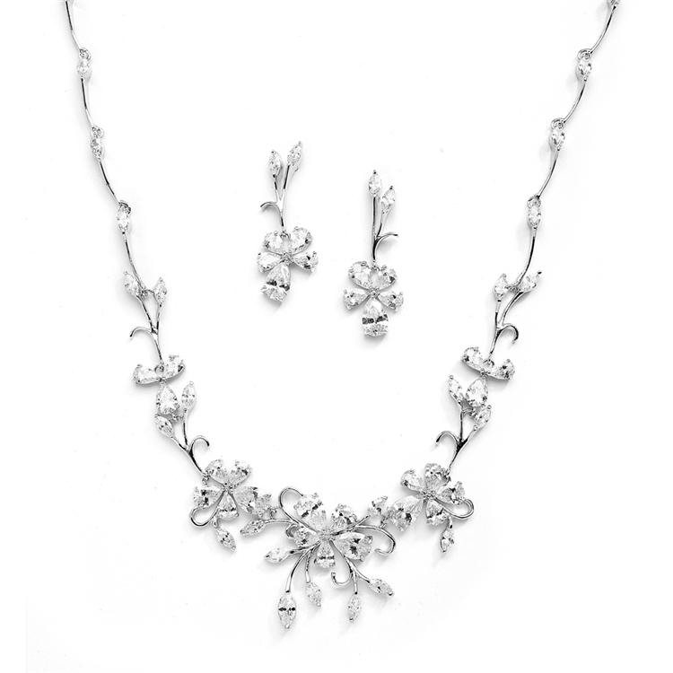 Mariell Elegant Vine Cz Necklace And Earrings Set For ...