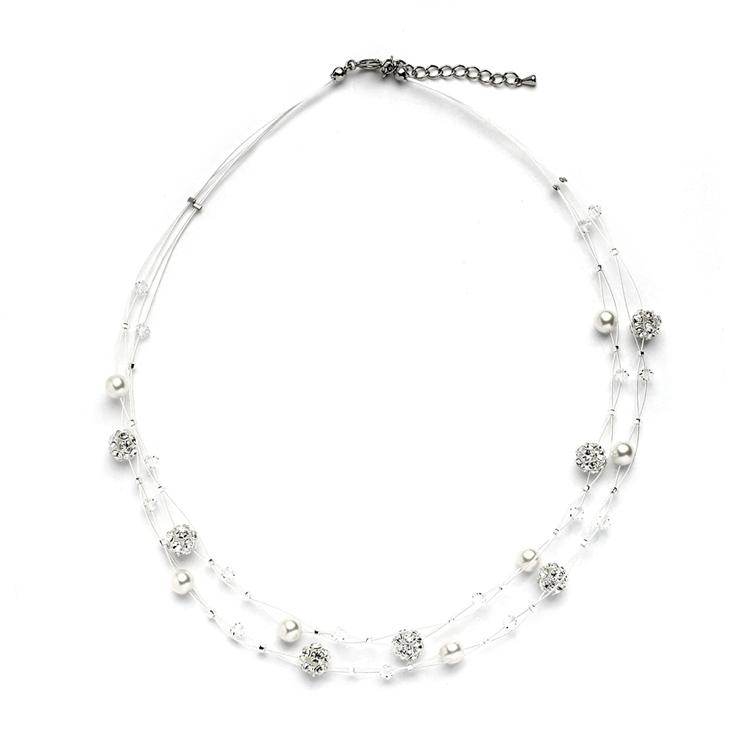Mariell Sarah's Special 2-row Floating Pearl Crystal And