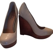 Mark & James by Badgley Mischka Leather Embossed Leather Beige Wedges