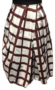 Marni White Brown Geometric Elastic Waist Below Knee Sma 10504 Skirt Multi-Color