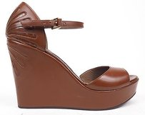 Marni Leather Open Toe Brown Platforms