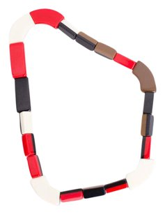 Marni Marni For Hm Red White Navy Multicolor Plastic Chunky Elasticated Bead Necklace