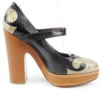 Marni Leather Snakeskin Mary Jane Platform Eu Black / Taupe Pumps