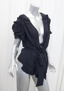 Marni Womens Silk Ruffle Tie Shirt 382 Top Black
