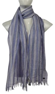 Martin + Osa Martin Osa Womens Blue Striped Scarf One Linen Blend Casual