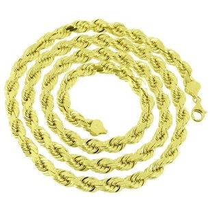 Master Of Bling 7mm Solid Rope Link Chain Necklace Inch Mens Real 10k Yellow Gold On Sale