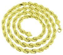 7mm Solid Rope Link Chain Necklace Inch Mens Real 10k Yellow Gold On Sale