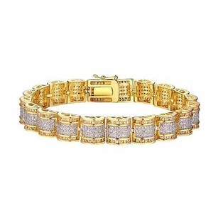 Gold Tone Womens Bracelet Designer Dome Link 925 Sterling Silver Iced Out Classy