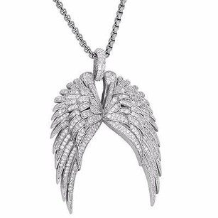 Master Of Bling Guardian Angel Wings Rhodium Plate Pendant Steel Box Chain Simulated Diamonds