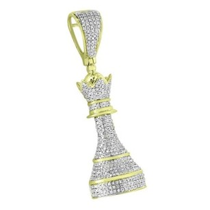 Master Of Bling King Chess Piece Pawn Pendant Iced Out 10k Gold 1.25 Carat Diamond Charm Mens