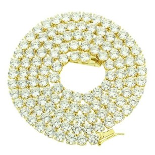Tennis Necklace 1 Row Sterling Silver Yellow Gold Finish Simulated Diamonds