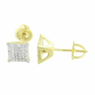 Mens Square Shape Earrings Studs Yellow Gold Plate Simulated Diamonds Screw Back