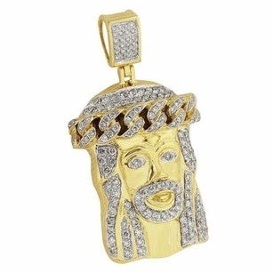 Master Of Bling Miami Cuban Jesus Face Pendant 14k Yellow Gold Genuine Diamonds Pave Solid Back