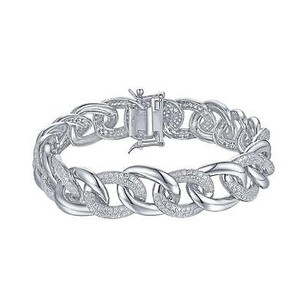 Master Of Bling Miami Cuban Link Bracelet 925 Sterling Silver Simulated Diamonds Womens Elegant