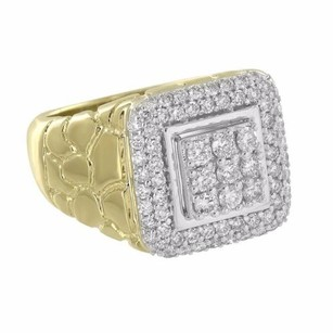 Master Of Bling Nugget Design Ring 10k Yellow Gold Iced Out Round Genuine Diamonds Mens Custom