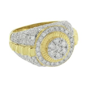Master Of Bling Presidential Style Mens Ring Solitaire Cluster Diamonds 10k Yellow Gold High End