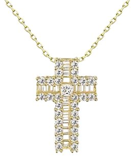 Princess Cut Solitaire Cross Pendant Jesus Iced Out 925 Silver Necklace Classy