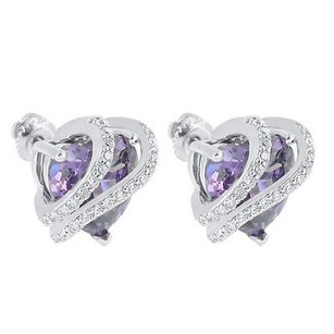 Master Of Bling Purple Ruby Cz Earrings Sterling Silver Solitaire Screw Back Studs Ladies Unique