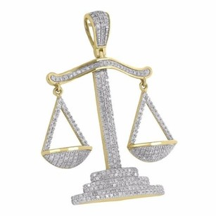 Master Of Bling Scale Of Justice Pendant 10k Yellow Gold Iced Out Custom Diamonds Pave Set Mens